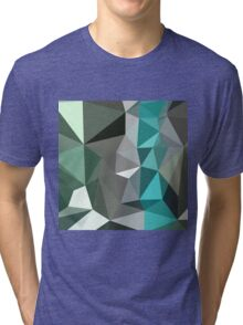 Persian Green Abstract Low Polygon Background Tri-blend T-Shirt
