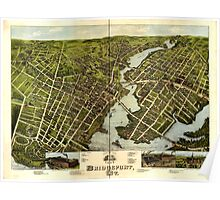 Panoramic Maps View of Bridgeport Ct 1875 Poster