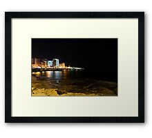 Black Night, Bright Lights - Sliema's Famous Waterfront Framed Print