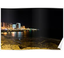 Black Night, Bright Lights - Sliema's Famous Waterfront Poster