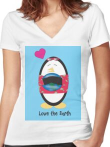 Waddles the Penguin Loves the Earth Women's Fitted V-Neck T-Shirt