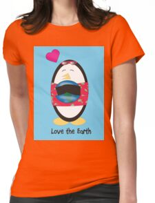 Waddles the Penguin Loves the Earth Womens Fitted T-Shirt