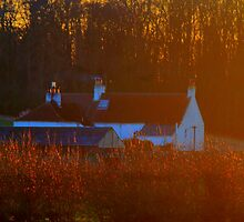 Cottage across the River Tees, in the gold of sunset. by Ian Alex Blease