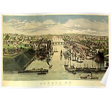 Panoramic Maps Oswego NY Lewis Bradley del ; on stone by D W Moody Poster