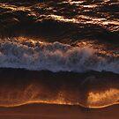Red Golden Wave And Beach - Ola Y Playa En Oro Rojo by Bernhard Matejka
