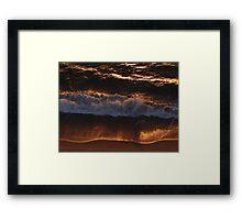 Red Golden Wave And Beach - Ola Y Playa En Oro Rojo Framed Print