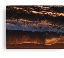 Red Golden Wave And Beach - Ola Y Playa En Oro Rojo Canvas Print