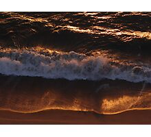 Red Golden Wave And Beach - Ola Y Playa En Oro Rojo Photographic Print