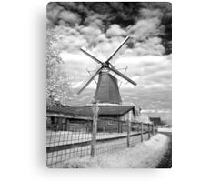Babberich Windmill in Monochrome Infrared Canvas Print