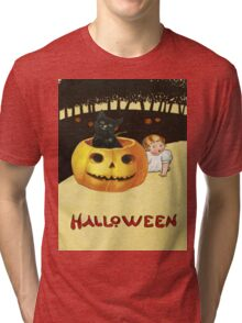 Shocking The Baby (Vintage Halloween Card) Tri-blend T-Shirt