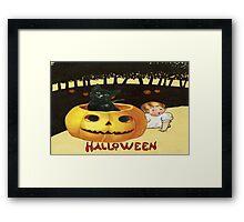 Shocking The Baby (Vintage Halloween Card) Framed Print
