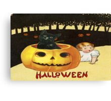 Shocking The Baby (Vintage Halloween Card) Canvas Print
