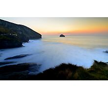 Cornwall: March Sunset at the Strand Photographic Print