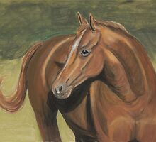 Brown Horse Turns Her Head Pastel Drawing by Teddie McConnell