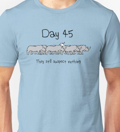 Day 45. They still suspect nothing. (Unicorn + Rhinos) Unisex T-Shirt