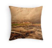 Cullercoats, England from an Engraving 1880 Throw Pillow