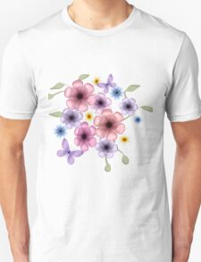 Floral Cluster with Butterflies T-Shirt
