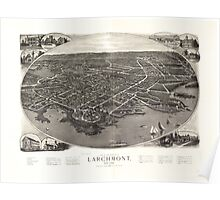 Panoramic Maps View of the borough of Larchmont New York Poster