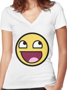 smiley meme Women's Fitted V-Neck T-Shirt
