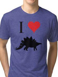 I Love Dinosaurs - Stegosaurus Tri-blend T-Shirt