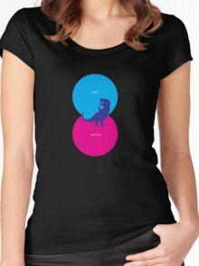 Dinosaur Venn Diagram (Birds + Reptiles) Women's Fitted Scoop T-Shirt