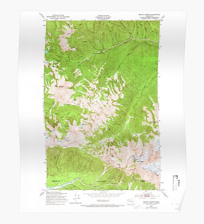 USGS Topo Map Washington State WA Mount Carrie 242480 1950 24000 Poster
