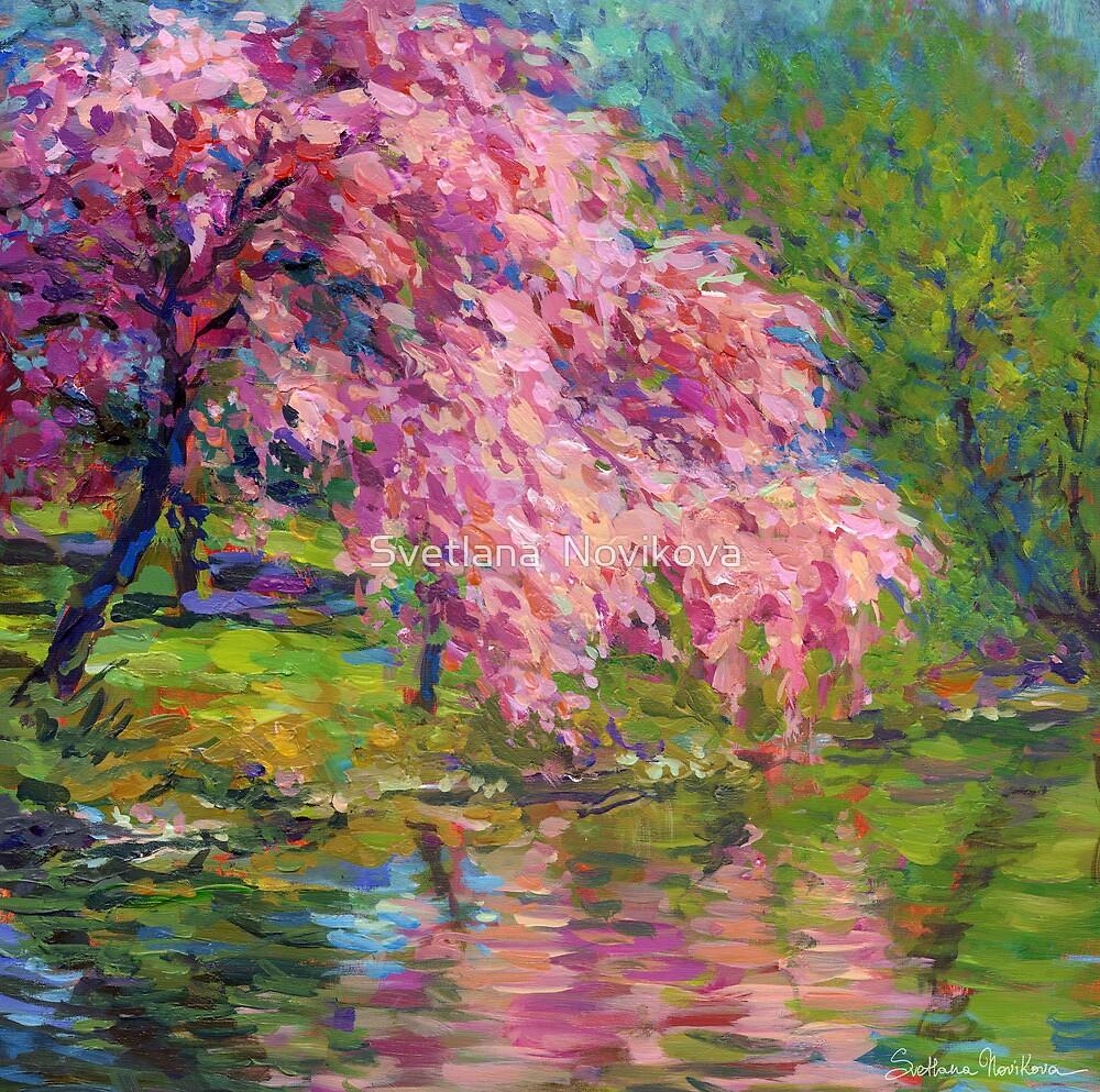 Blossoming trees landscape painting Svetlana Novikova by Svetlana  Novikova