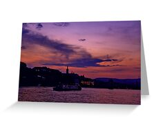 Budapest the Danube River at night.Number 3 Greeting Card