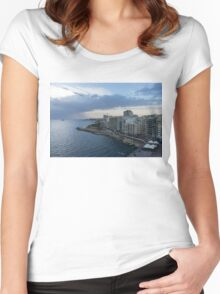 Offshore Rainstorm - Sliema's Famous Promenade Waking Up Women's Fitted Scoop T-Shirt