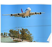 Airbus A380 landing at Adelaide Poster
