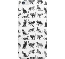 Vintage black and white floral cats pattern  iPhone Case/Skin