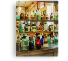 Bottles of Chemicals Green and Brown Canvas Print