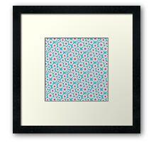 Chic trendy vintage pink teal retro floral  Framed Print