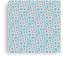 Chic trendy vintage pink teal retro floral  Canvas Print