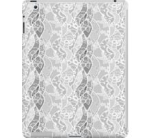 Vintage white gray floral french lace pattern  iPad Case/Skin