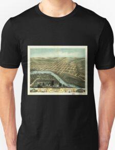 Panoramic Maps Bird's eye view of the city of Mankato Blue Earth County Minnesota 1870 T-Shirt