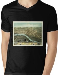 Panoramic Maps Bird's eye view of the city of Mankato Blue Earth County Minnesota 1870 Mens V-Neck T-Shirt