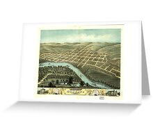 Panoramic Maps Bird's eye view of the city of Mankato Blue Earth County Minnesota 1870 Greeting Card