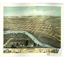 Panoramic Maps Bird's eye view of the city of Mankato Blue Earth County Minnesota 1870 Poster