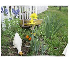 Spring Flowers With a White Picket Fence Poster