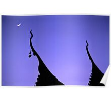 Temple roofs in the moonlight in Chiang Mai. Poster