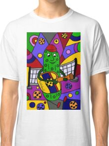Cool Pickle Playing Pickleball Paddle Guitar Classic T-Shirt