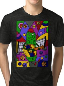 Cool Pickle Playing Pickleball Paddle Guitar Tri-blend T-Shirt