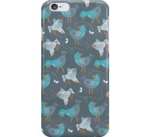 blue birds on dark gray iPhone Case/Skin