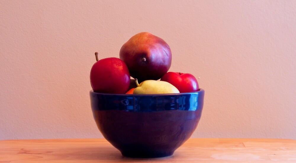 Fruit in Blue Bowl by Jay Reed
