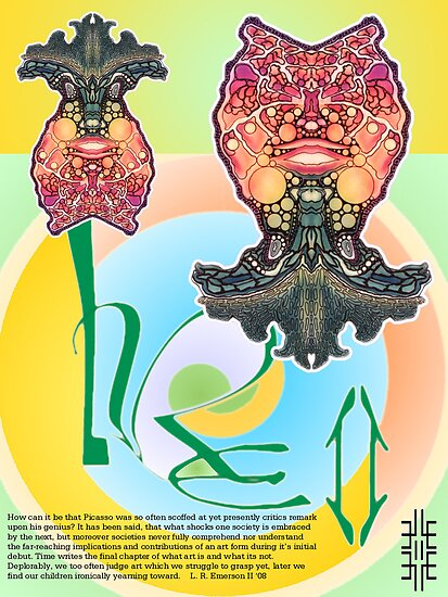 """""""L. R. E. II"""" Limited Edition, 2009 Commemorative Poster by Leading Upside Down Artist, L. R. Emerson II from the Upside-Down Art Movement; Upsidedownism, Topsy Turvy Art, Ambigram Art, or Masg Art  by L R Emerson II"""