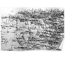 Sticks in the Water Black and White Abstract Poster