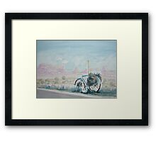 A Bike with a Red Rock View Framed Print