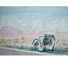 A Bike with a Red Rock View Photographic Print