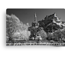 Edinburgh Castle & The Ross Fountain ( Please View Larger) Canvas Print